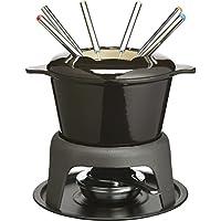 masterclass Kitchen Craft Set de Fondue de Hierro esmaltado (con 6 Pinchos), Color Negro