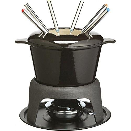 Kitchen Craft MasterClass Fleisch-/Käse-/Schokoladen-Fondue-Set aus Gusseisen, mit Sechs Edelstahlgabeln, 21 x 18 cm – Schwarz