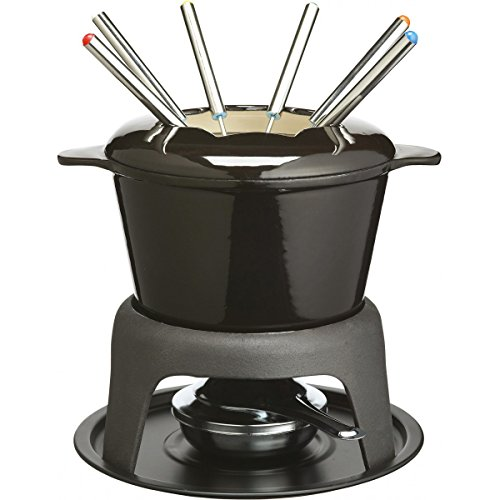 masterclass Kitchen Craft Set de Fondue de Hierro esmaltado (con 6 Pinchos), Color Negro