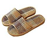 YELAN Sandalias de ducha planas ligeras antideslizantes para hombres y mujeres al aire libre, zapatillas tejidas de bambú de suela blanda para baño de jardín interior (41/42, Black, numeric_41)