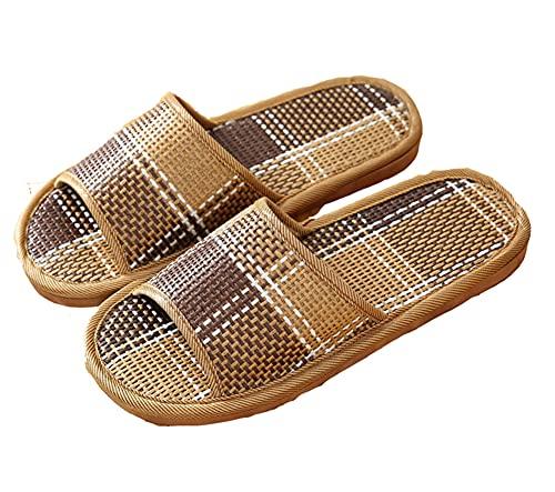 YELAN Sandalias de ducha planas ligeras antideslizantes para hombres y mujeres al aire libre, zapatillas tejidas de bambú de suela blanda para baño de jardín interior (43/44, Black, numeric_43)