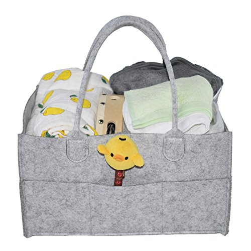 Tosnail Portable Baby Diaper Storage Caddy Organizer with Removable Compartments - Gray