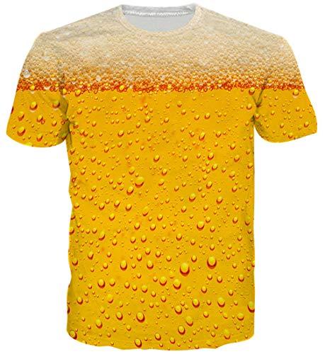 Goodstoworld Cerveza Tiger Camiseta 3D Golden Imprimir Hombres Mujeres Verano Casual de Manga Corta Personalizada Camiseta tee Tops pequeños