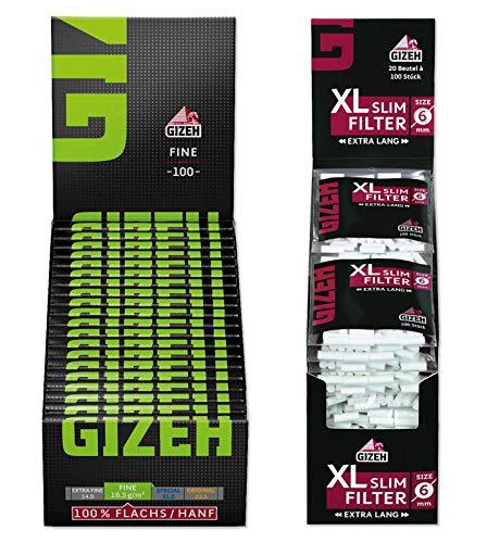 Set Gizeh Black Fine Magnet Zigarettenpapier (20x100) + XL Slim Filter Ø 6mm extra Lang (20x100) Slimfilter