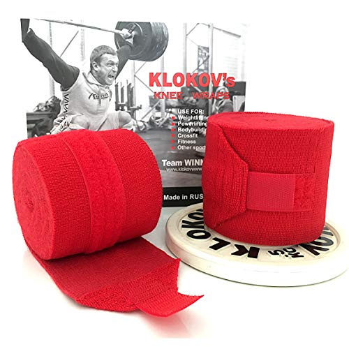 Klokov Knee Wraps (Pair) - Compression & Elastic Support - Perfect for Weightlifting, Squats, Powerlifting, Cross Training (Black)