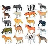 SSRSHDZW Juguetes Plástico Decoración Muebles Safari Infantil Dinosaurio Set Juguete Modelo Simulación Animal Panda Tigre León Niño 40 Piezas