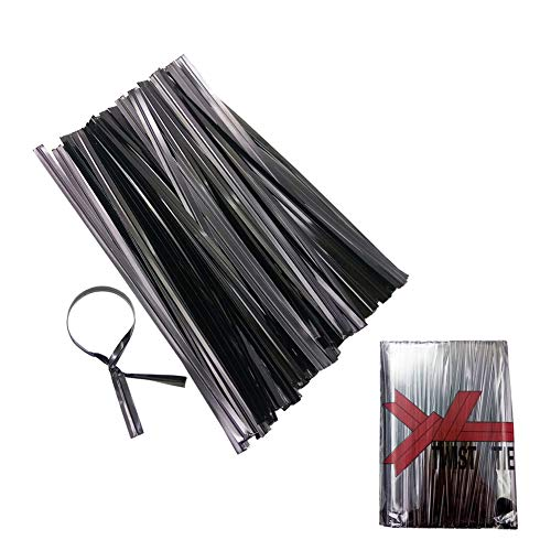 Metallic Twist Ties 4' Bread Candy Bag Ties for Gift Bag, Party Bag Treat Bag (500Pcs) (black)