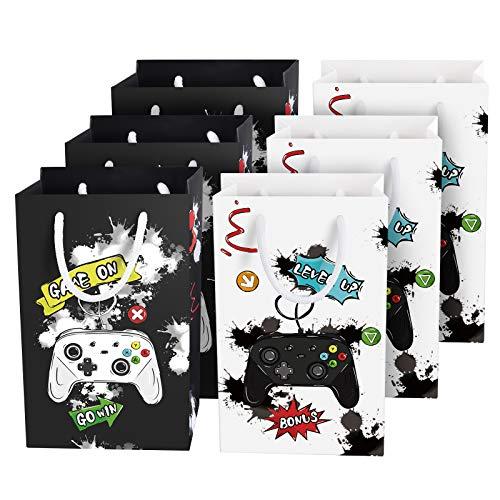Bolsas para Fiestas de Videojuegos - 16 Piezas Bolsas de Papel para Niños Productos para Fiestas de Videojuegos Bolsas de Regalo de Caramelos con Asa (Blanco & Negro)