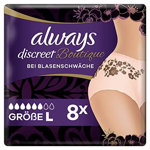 Always Discreet Boutique Inkontinenz-Höschen Gr. L (44-54) (8 Pants) feminines Design und zuverlässiger Schutz bei Blasenschwäche, Auslaufschutz und OdourLock-Technologie