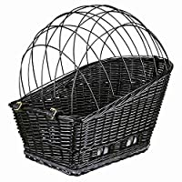 with galvanized wire mesh, plastic-coated for transporting the pet on the bicycle rack with suede look cushion, grey