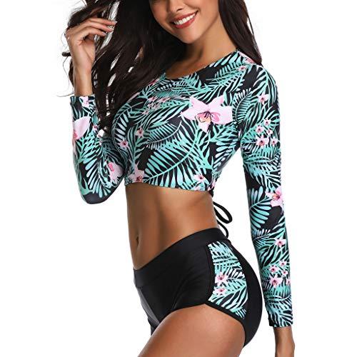 Malloom traje de surf mujer traje de surf 4/3 Mujeres Traje de Manga Larga Floral UV Protección Camiseta Bañador para Buceo Natación Surf, 2 Piezas