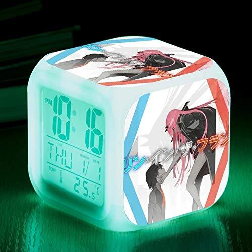 fdgdfgd Reloj Despertador del Equipo de Anime 15 luz Nocturna Que Cambia de Color Reloj Digital LED de Escritorio con termómetro Reloj Despertador con Fecha