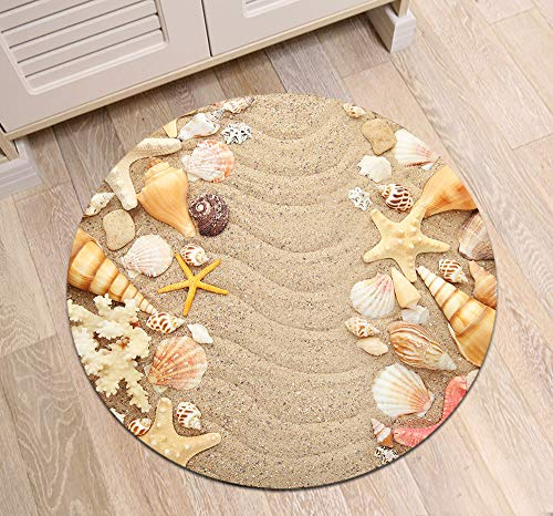 Beach Theme Area Rugs, Seashells and Starfishes Non-Slip Round Rug, Washable Living Room Bedroom Carpet for Kids Playmat Nursery Rugs, Dia. 2'8''(80cm)