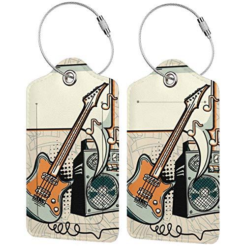 WINCAN Etiquetas para Equipaje,Diseño Musical: Guitarra, Amplificador y Bocadillo,2 Piezas Etiquetas de...