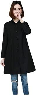 Mogogo Women's Button Relaxed Parka Outwear Mid-Long Jacket Dust Coat