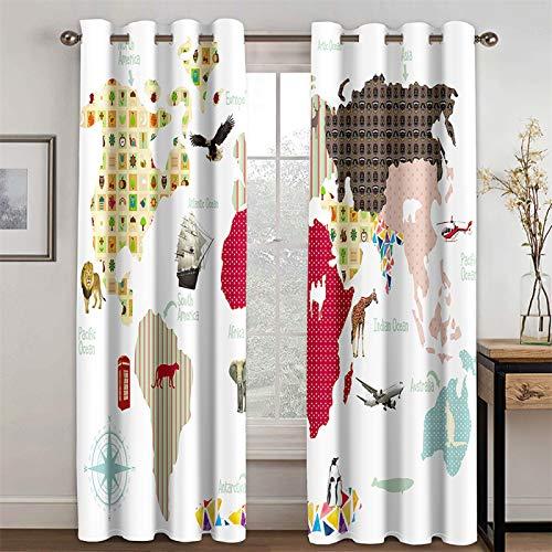YUNSW Cortinas Blancas Minimalistas Modernas, Sala De Estar, Cocina, Dormitorio, Cortinas Opacas con Aislamiento Térmico, Juego De 2 Piezas