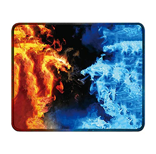 Mouse Mat Red and Blue Dragon Flame Mouse Mat Colorful Office 9.8X11.8 Inch Unique Mouse Pad Gaming Mat Dormitory Rubber Pc Custom Fashion Novel Printed Laptop Durable Non-Slip