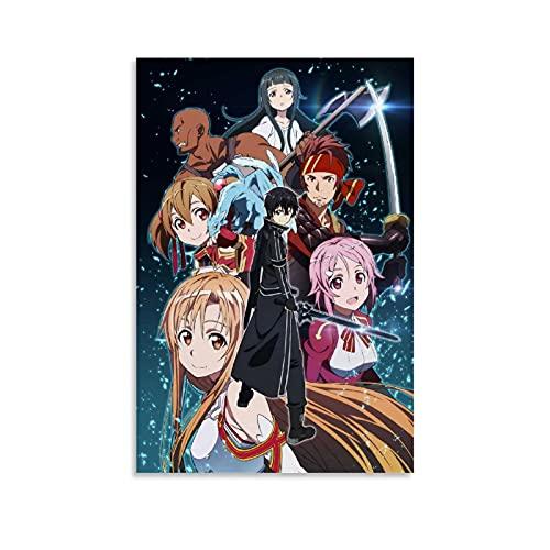 JKDS Póster de anime en línea de arte espada pintura decorativa lienzo arte de la pared carteles sala de estar dormitorio pintura 50 x 75 cm