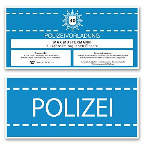 (20 x) Einladungskarten Geburtstag als Polizei Vorladung Karte Einladungen in Blau