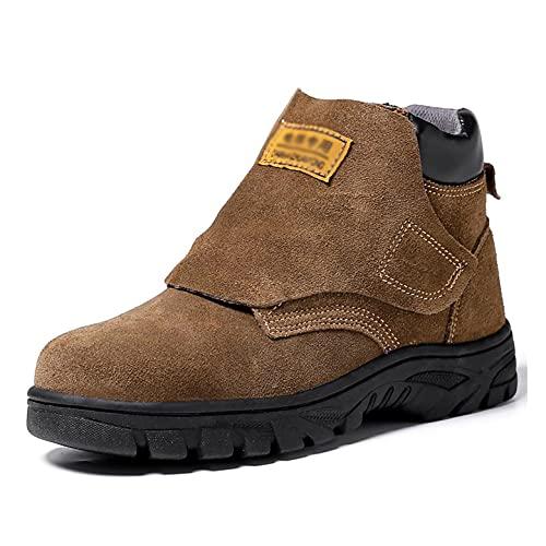 Zapatos de Trabajo Botas de Seguridad de los soldadores de la Tapa del Punta de Acero de los Hombres, Zapatos Protectores de protección Industrial de Cuero de Gamuza livianos, con Cubierta Protectora