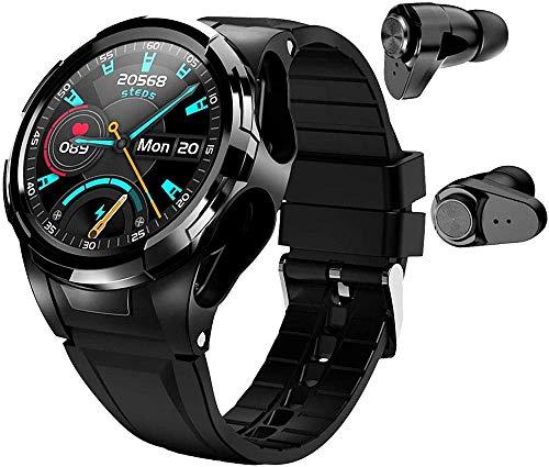 hwbq Reloj inteligente con auriculares Bluetooth para hombres y mujeres podómetro monitor de fitness termómetro tiempo sueño paso
