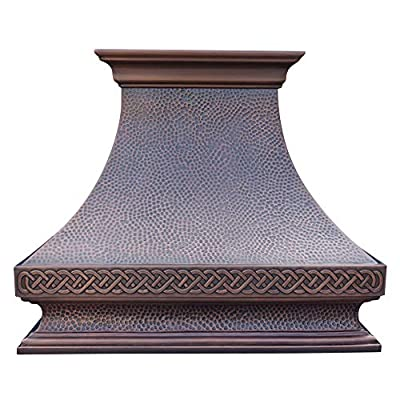"""SINDA 36""""Wx48""""H Hammered Copper Kitchen Oven Hood with Efficient Range Hood Insert, Wall Mount, Smooth-Oil Rubbed Bronze, H21SOW3648"""