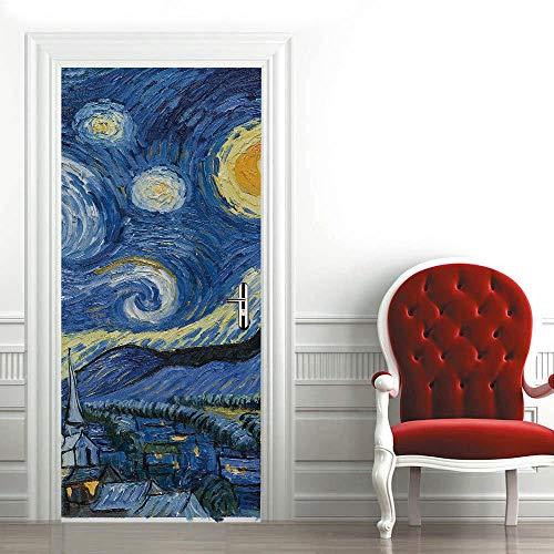 Mural para Puerta 90X200Cm ,3D Adhesivos para Puertas Autoadhesivo Vinilo Removable Art Door Decals para La Decoración Casera - Pintura Al Óleo, Fantasía Azul Cielo Estrellado.