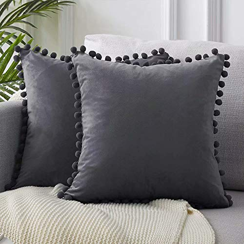 LAPOPNUT Dark Grey Velvet Cushion Covers 18x18 Inch Soft Square Decorative Pillow Case Throw Pillowcases for Living Room Sofa Bedroom Pillowcase with Tassels 45cmx45cm, Pack of 2
