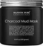 Majestic Pure Activated Charcoal Mask,Clear Complexion Facial Mask for Blackhead, Shrinking Pores, Fighting Acne, Toning Skin, Removing Impurities