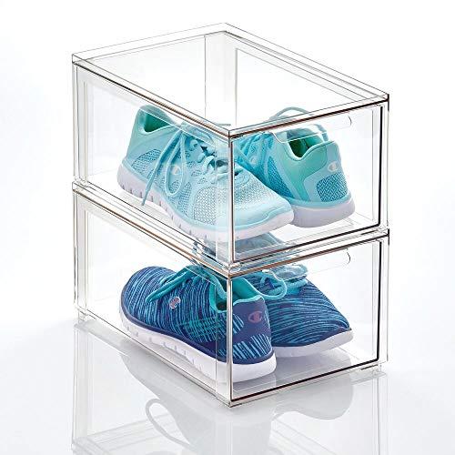 mDesign Cajas de plástico transparente – Organizador de armarios apilable y rígido con cajón extraíble – Caja para guardar zapatos, accesorios y otros objetos – Juego de 2 – transparente