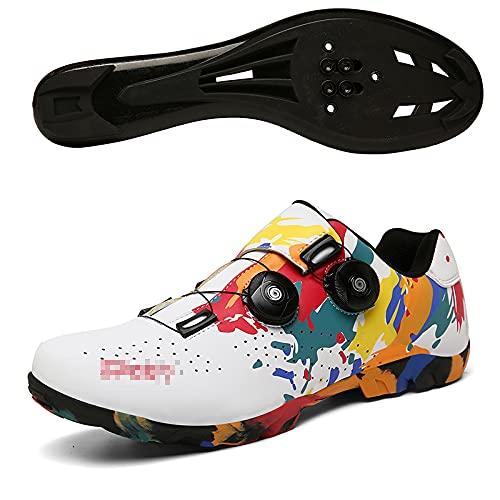 Qisheng Trade Zapatillas de Ciclismo con Suela de Goma de Carretera Zapatillas Ultraligeras Antideslizantes Profesionales con Autobloqueo Zapatillas Deportivas para Ciclismo Al Aire Libre,B-38
