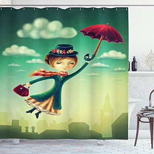 ABAKUHAUS Fantasie Duschvorhang, Märchen Nanny London, Leicht zu pflegener Stoff mit 12 Haken Wasserdicht Farbfest Bakterie Resistent, 175 x 200 cm, Multicolor