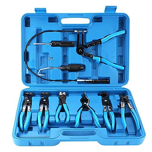 9 Stück Schlauchschellenzange, Draht lange Reichweite Schlauchschellenzange Set Heizöl Wasserschlauch Autowerkzeuge für Kfz-Kühler-Heizung und Wasserschlauch mit Flachband oder großen Schellen