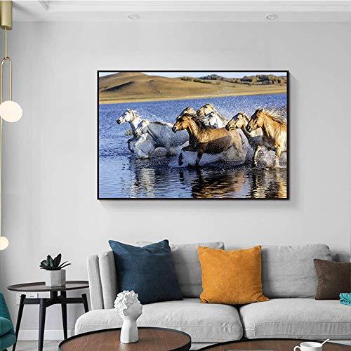 LPaWD Animal posters en prints Canvas schilderij & kalligrafie Horse Wall Art foto voor Living Wall Art muurschildering A2 60x80cm