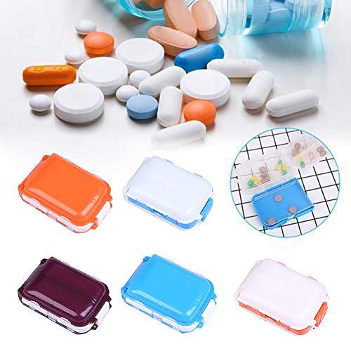 Lai-LYQ 3-laags pillenbox, 8-voudig pillenetui Travel Vitamine Organizer Box draagbare houder Blau