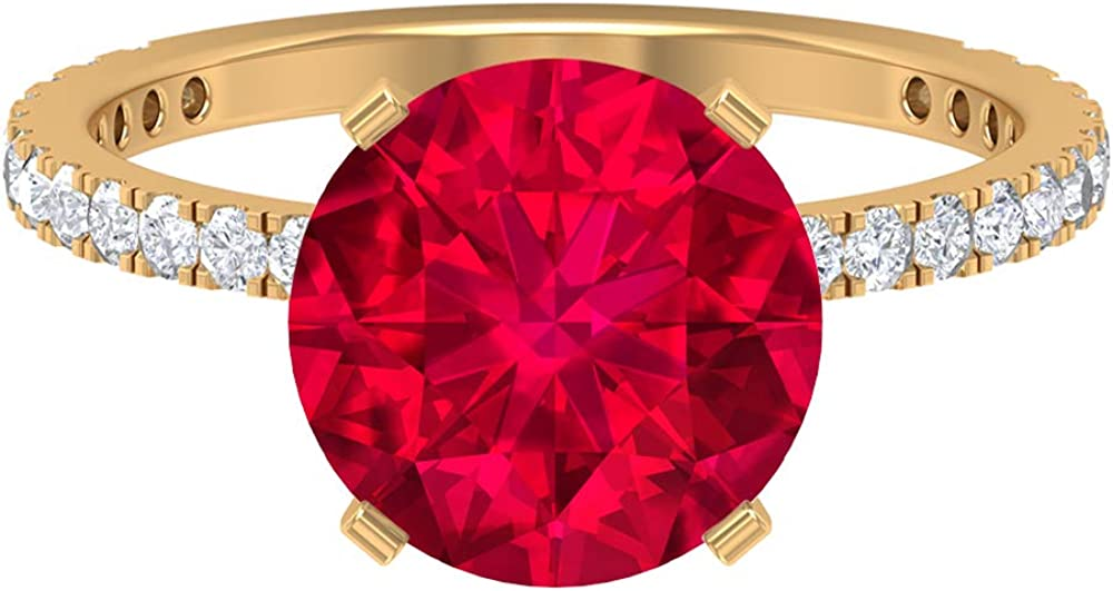 4 CT Lab Created Ranking TOP8 Ruby Solitaire with Moissanite Ring Sta Accent supreme
