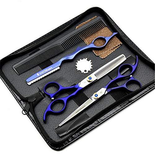 Ciseaux Coiffure Combinaison Set Super Sharp Professionnel Ciseaux de coiffeur Outil Salon Mince Trousse 6.0 Pouce Parfait pour les femmes et les hommes (NOIR)
