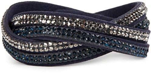 styleBREAKER weiches Strass Armband, eleganter Armschmuck mit Strassteinen, Wickelarmband, 2x2-Reihig, Damen 05040004, Farbe:Dunkelblau/Dunkelblau-Silber