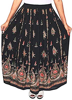 OMA Women's Sequined Broomstick Hippy Gypsy Bohemian Long Skirt - Premium Quality Brand