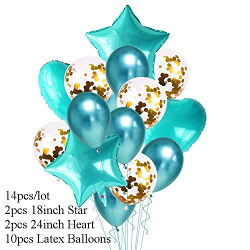 Xinger 14Pcs Heart Star Gold Confetti Ballon Happy Birthday Party Metallic Chrome Ballonnen Wedding Decor Helium Ballons, 14pcs style J