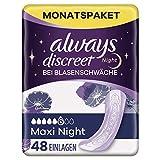 Always Discreet Maxi Night - Compresas para incontinencia (48 compresas), paquete mensual, protección discreta y alta absorción, neutralizador de olores (4 x 12 unidades)