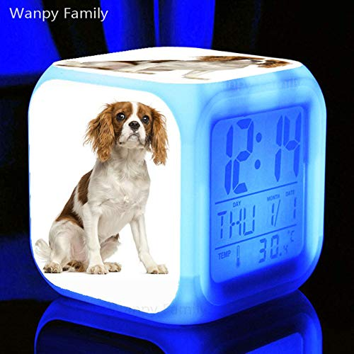 Zhuhuimin LED-wekker voor honden gouden retro digitaal verlicht 7 kleuren voor kinderkamer nachthorloge met elektronische klok