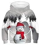 WEIWEIMITE Sudadera con Capucha de niños Navidad 3D Impresión gráfica Sudadera con Capucha Kids Casual Jersey Sudadera con Capucha (Color : Snowman Grey, Size : 13-14 Years)