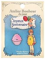 フランス製 木製ボタンセット (男の子とメッセージとカップケーキ) アトリエ・ボヌール・ドゥ・ジュール ATLIERSET014
