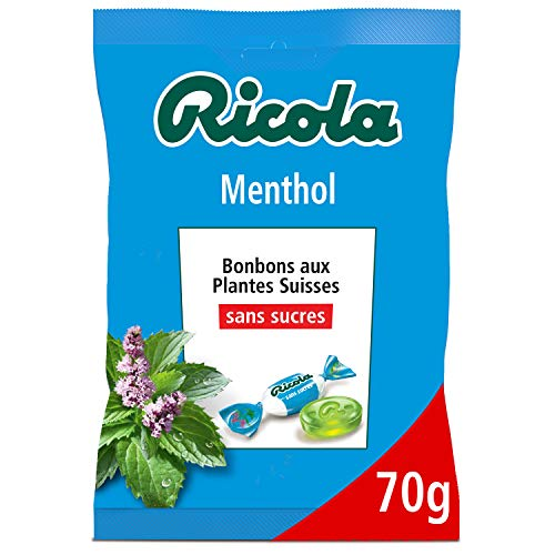 Ricola - Bonbons Suisses aux Plantes - Parfum Menthol - Apaisant et Extra Frais - Sans Sucres - Colorants et Arômes Naturels - Fabriqué en Suisse - 1 Sachet de 70g