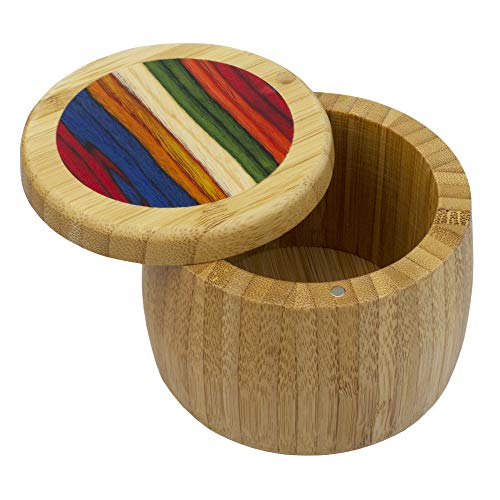 Baltique Marrakesh Collection Salt Cellar and Storage Box  Bamboo and Colored Birch Wood  8 Ounce Capacity