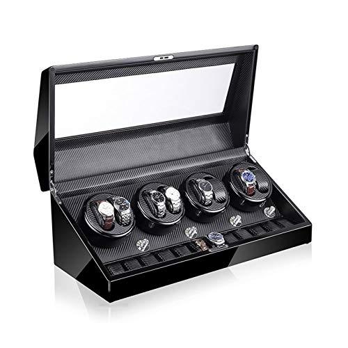 Oksmsa - Caja de madera automática para reloj de 5 motores giratorios y japoneses, se adapta a la mayoría de relojes mecánicos giratorios y para 8+12 cajas de almacenamiento de relojes, B,
