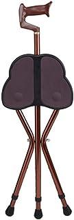 Tripod promenadkäpp och säte vikbar lätt justerbar höjd käpp säte aluminium bärbar promenadstol trebent resa stol pall, brun