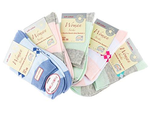 SOUNON® Damen Kurzsocken, Komfortb& ohne Gummi (10 Paar), Groesse: 35-38 (M-4410)