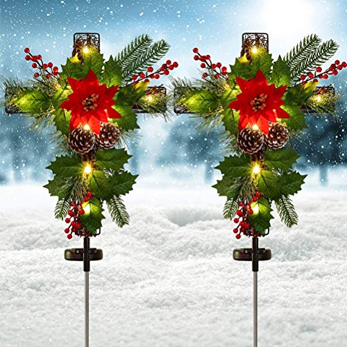 Qhome 2pcs Lawn Garden Solar Lights with Faux Poinsettia Pine, Holly Leaves, Red Berries, Christmas Patio Cross Stake Flower Lights Decoration for Outdoor Walkway/Home Party/Yard